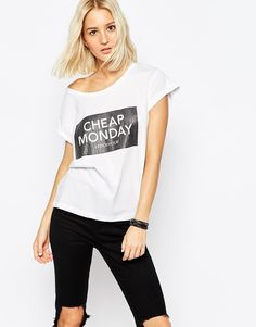 86a6d37cf54 Cheap Monday Cracked Logo Boxy T-Shirt