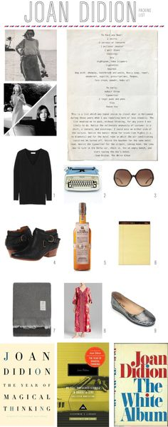 """I have reread Joan Didion's """"The White Album"""" more times than I can count. Included in that book is her packing list (below). I would love to see an entire book of just the packing lists of intere..."""