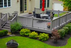 15 Outdoor Deck Ideas for Better Backyard Entertaining 2019 Outdoor Deck Ideas I like the little shrubs around the base of the deck. The post 15 Outdoor Deck Ideas for Better Backyard Entertaining 2019 appeared first on Deck ideas.