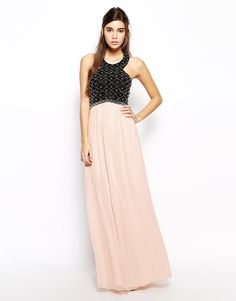 Chi Chi London Embellished Maxi Dress with Halterneck