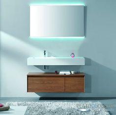 Mueble de Baño Luxor II. Ideal para complementar la Encimera Solid Surface. Con opción a incluir el espejo Alba Led