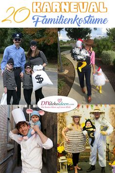20 family costumes themselves make ideas for carnival that everyone will love - Familienkostüme selber machen - Baby Kostüm, Baby Co, Diy Costumes, Halloween Costumes For Kids, Carnival Costumes, Holidays Halloween, Happy Halloween, Costumes Family, Amazing Girlfriend