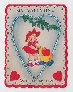 Vintage Greeting Card Valentine's Day UNUSED Girl Stroller Pram A-Meri-Card j244