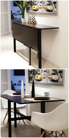 Twenty dining tables that work great in small spaces - Dining Set - Ideas of Din. Dining Table Small Space, Dining Room Sets, Small Space Living, Round Dining Table, Small Spaces, Small Rectangle Dining Table, Small Apartments, Room Decor, Homes