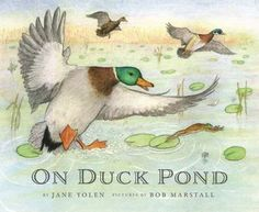 On Duck Pond by Jane Yolen.  A young boy and his dog walk by a serene pond that erupts in a cacophony of birds, frogs, turtles, and other creatures.