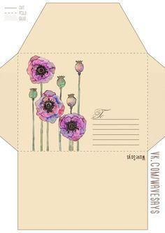 Printable Stationary & More - CreativeReflections Envelope Template Printable, Printable Letters, Printable Paper, Mail Art Envelopes, Cute Envelopes, How To Make An Envelope, Diy Envelope, Homemade Envelopes, Pen Pal Letters