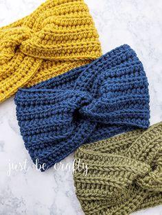 Crochet Twisted Ear Warmer Headband – Just Be Crafty - knit crochet Crochet Twist, Free Crochet, Knit Crochet, Double Crochet, Crochet Ear Warmer Pattern, Crochet Headband Pattern, Crochet Ear Warmers, Easy Crochet Headbands, Crochet Crafts