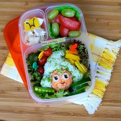 Bentos on the Bayou: Roald Dahl Day Blog Hop - Oompa Loompa Bento @EasyLunchboxes