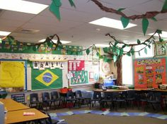 Jungle Classroom- branches on the ceiling!