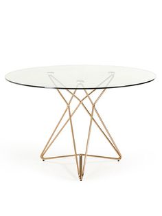 Symmetry Rose Gold Glass Table | Modern Furniture • Brickell Collection