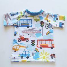 Transport t-shirt for babies and children - car , bus, plane , bike , rainbow t-shirt