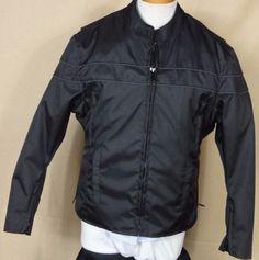 Vance Leathers Black Nylon Motorcycle Jacket with Zip in Liner Size M #vanceleathers