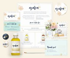Azalia brand identity extended to product packaging and business stationery Cool Packaging, Candle Packaging, Print Packaging, Packaging Design, Branding Design, Product Packaging, Spa Branding, Branding Ideas, Beauty Salon Design