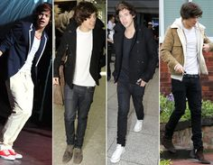 Harry style, roupas em tons mais neutros e atemporais, como azul marinho, preto, branco e marrom. Para looks mais arrumadinhos ele aposta no blazer. E, para encarar o frio, aposta em casacos mais pesados e clássicos com calça jeans.