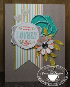 Another beauty by Yvonne - love how she colored the You're Lovely stamp, then cut it out perfectly using the Deco Labels Framelits by Karen Burniston for Stampin' Up! .....Yvonne's Stampin' & Scrap Blog.....: Kaart en cadeauzakje