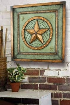 Texas Star Wall Art round wall plaque metal texas sign star wheat trim indoor outdoor