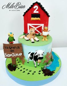 Barnyard animals cake /La granja de Zenon by MileBian Farm Birthday Cakes, Farm Animal Birthday, Baby Boy Birthday, First Birthday Parties, Birthday Party Themes, 2nd Birthday, First Birthdays, Barnyard Cake, Farm Cake