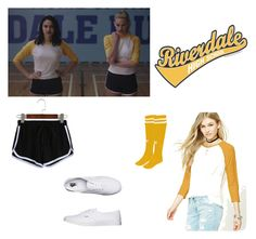 """""""Riverdale Cheerleader"""" by ewcara ❤ liked on Polyvore featuring Diadora, Forever 21 and Vans"""