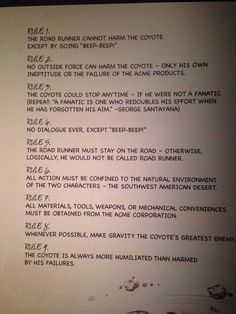Cartoonist Chuck Jones' rules for Wild E. Coyote and the Roadrunner - Imgur