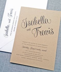 Isabella Script Recycled Kraft Wedding by CricketPrinting on Etsy