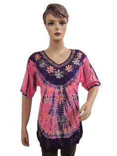 Bohemian Blouse Purple Pink Tie Dye Floral Embroidered « Clothing Impulse