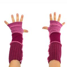 Kids Arm Warmers in Fuchsia Magenta Pink  Segmented by mirabeans