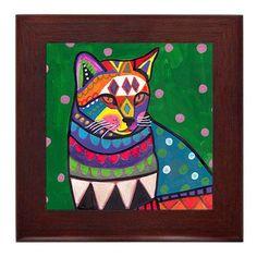 Cat Garden Folk Art Ceramic Framed Tile by Heather Galler - Tabby Cats Lover Ready To Hang Tile Frame Gift