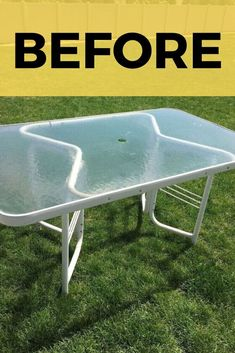 Make over your old outdoor glass table with this DIY faux wood idea. This table upcycle project is perfect if you're decorating on a budget so check out this glass and metal table before and after for some upcycling inspiration. Diy Patio, Patio Table, Diy Table, Patio Ideas On A Budget, Diy Garden Table, Old Wood Table, Wooden Dining Tables, Farm Tables, Rustic Table