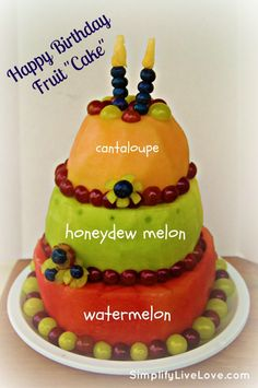 """Happy Birthday Fruit Cake! What a perfect idea! It is so much fun and a great way to """"eat cake"""" but stay on your track with your diet!"""
