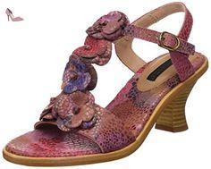 S943 Fantasy Aurora, T-Strap Sandals Femme, Multicolore (Floral Yellow), 37 EUNeosens