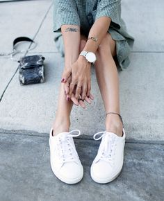 white sneakers + watch