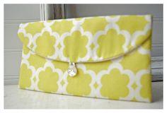 Chartreuse clutch purse Geometric Wedding  Clutch by hoganfe,