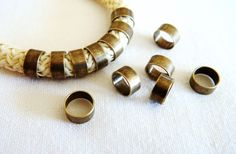 10 pieces Bronze Brass Tube Brass Beads Brass Tube Beads by vess65