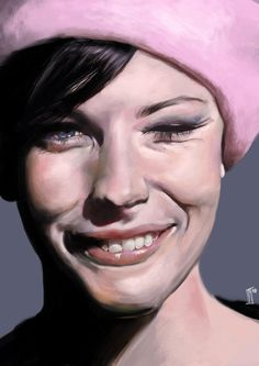 """Hehe Again"" - Innes McDougall {figurative realism female head smiling woman face portrait pink hat digital painting} indi1288.deviantart.com"