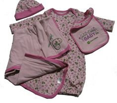 John Deere Baby Pink Blanket 4 Piece Layette Set John Deere Baby, Brand Expert, Pink Blanket, Outdoor Brands, Baby Makes, Baby Girl Newborn, Babys, Gym Shorts Womens, Girl Outfits
