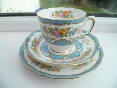 Vintage Crown Staffordshire China Trio Tea Cup Saucer Plate Lyric Tunis Blue