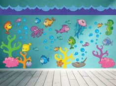 Ocean Wall Decal - Fish Wall Decal - Under the Sea Wall Deca.- Ocean Wall Decal – Fish Wall Decal – Under the Sea Wall Decal - Decoration Creche, Class Decoration, School Decorations, Sea Decoration, Kids Wall Decals, Kids Stickers, Vinyl Wall Art, Church Nursery, Sea Theme