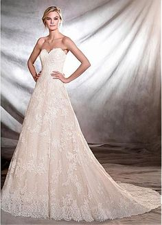 Attractive Tulle Sweetheart Neckline A-line Wedding Dresses With Lace Appliques