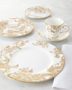 Five-Piece Gilded Forest Dinnerware Place Setting by Marchesa at Neiman Marcus. & The Most Beautiful China Patterns for Your Fall Table | China ...