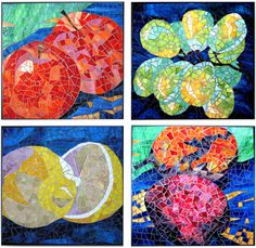 mosaic fruit art style.