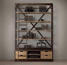 estanteria de hierro doble biblioteca industrial rh baires