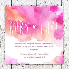 Pink watercolour wedding invitation by RebeccaLDesigns on Etsy, $3.00