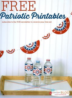 Free Patriotic Printables | Red, White and Blue | Printable Party Supplies