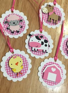 This listing is for 12 Girl Farm or Barnyard Animal themed favor tags. You can choose which combination of images you would like. Tag is approx. 3 with an animal adhered with a foam dot to make it pop! Tags come with ribbon already attached....just tie them right into your favors! Tag Barnyard Party, Farm Party, Cowgirl Birthday, Farm Birthday, Cow Craft, Magic Party, Cowboy Party, Farm Theme, Party In A Box