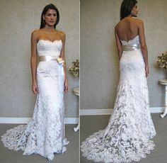 ALL-SIZES-New-white-ivory-lace-Wedding-Dress-Bridal-Gown-Sexy-Lace-Handmade-NWT