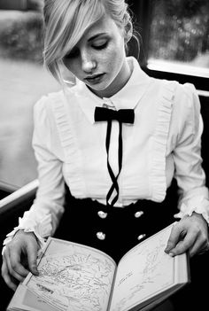 black and white, love this girl's bangs! and the shirt is perfect, with the bow tie