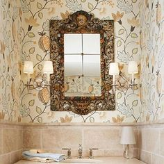 Fun, easy decorating project: Powder rooms are places where you can use high style for big impact in a small space.