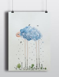 Cloud sheep blue green Original Watercolor ink by NORAillustration