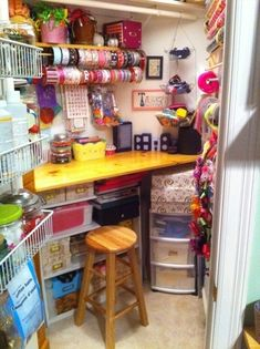 Craft closet What a great use of a small space!