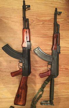 AK-47 pair Ak 47, Weapons Guns, Guns And Ammo, Weapon Storage, Lever Action Rifles, Shooting Guns, Assault Rifle, Cool Guns, Pistols